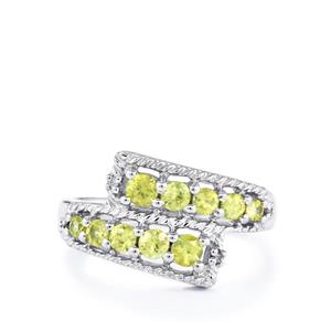 Ambilobe Sphene & Diamond Sterling Silver Ring ATGW 0.82cts
