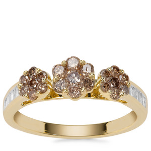 Champagne Diamond Ring with White Diamond in 9K Gold 0.81cts