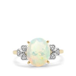 Ethiopian Opal Ring with Diamond in 10k Gold 2.05cts