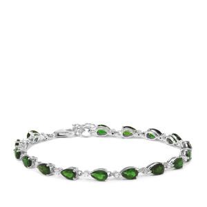Chrome Diopside & White Zircon Sterling Silver Bracelet ATGW 7.98cts