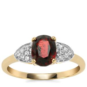 Burmese Multi-Colour Spinel Ring with White Zircon in 10K Gold 1.83cts