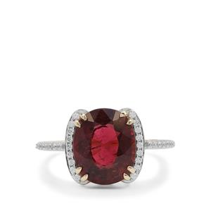 Nigerian Rubellite Ring with White Zircon in 9K Gold 4.20cts