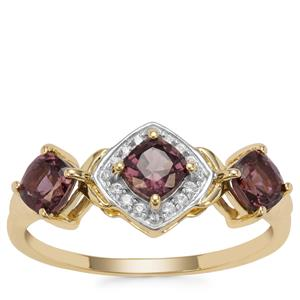 Burmese Purple Spinel Ring with White Zircon in 9K Gold 1.21cts