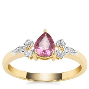 Padparadscha Sapphire Ring with Diamond in 9K Gold 0.80ct