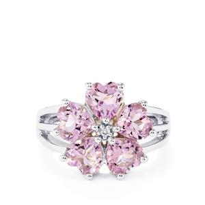 Rose De France Amethyst & White Topaz Sterling Silver Ring ATGW 3.35cts