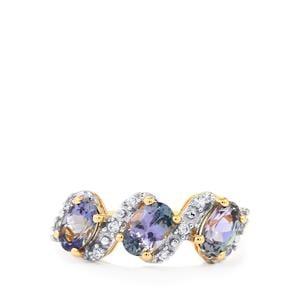 Bi Colour Tanzanite & White Zircon 9K Gold Ring ATGW 1.65cts