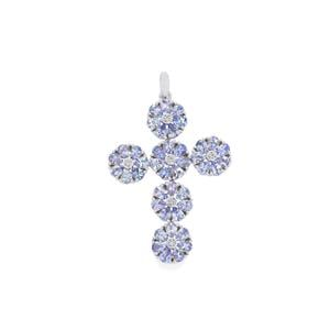 AA Tanzanite Pendant with White Zircon in Sterling Silver 6.23cts