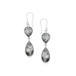 Siberian Dendrite Quartz Earrings in Sterling Silver 23cts