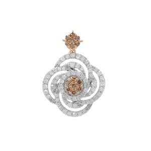 1ct Champagne & White Diamond 9K Gold Pendant