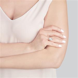 White Quartz, Songea Yellow Sapphire & White Topaz Sterling Silver Barion Cut Ring ATGW 5.79cts