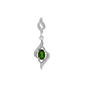 Chrome Diopside Pendant with White Zircon in Sterling Silver 0.74ct