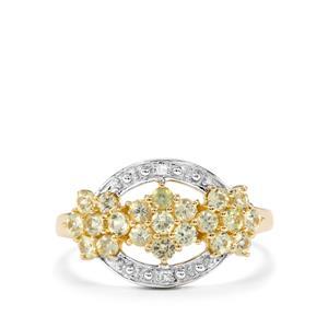 Brazilian Chrysoberyl & Diamond 9K Gold Ring ATGW 0.89cts