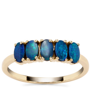 Crystal Opal on Ironstone Ring  in 9K Gold
