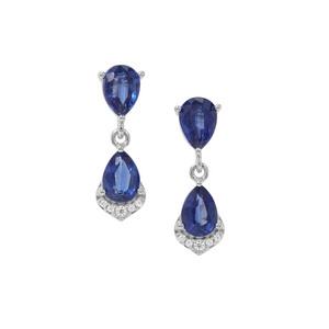 Nilamani Earrings with White Zircon in Sterling Silver 3.75cts