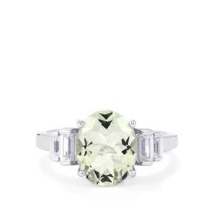Prasiolite & White Zircon Sterling Silver Ring ATGW 3.68cts