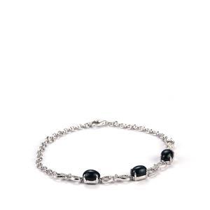 6.59ct Madagascan Blue Star Sapphire Sterling Silver Bracelet