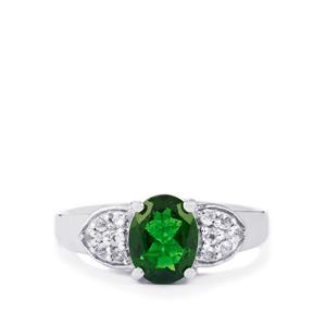 Chrome Diopside & White Topaz Sterling Silver Ring ATGW 2.53cts