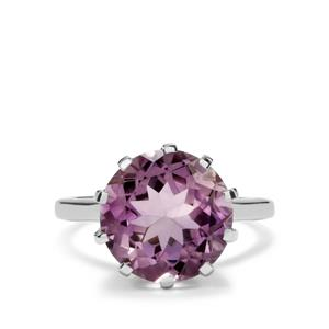6.70ct Rose De France Amethyst Sterling Silver Ring