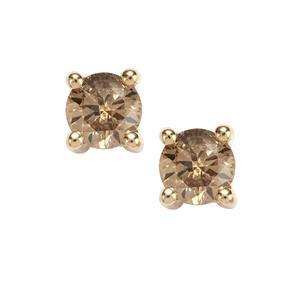 Champagne Diamond Earrings in 9K Gold 0.51ct