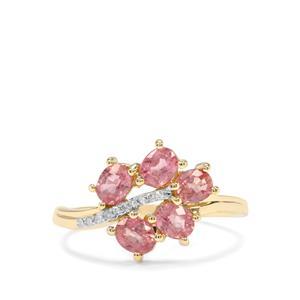 Padparadscha Sapphire & Diamond 10K Gold Tomas Rae Ring ATGW 1.67cts