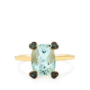 Espirito Santo Aquamarine Ring with Blue Diamond in 10k Gold 2.55cts