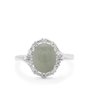 Type A Burmese Jadeite & White Zircon Sterling Silver Ring ATGW 3.69cts