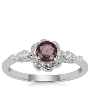 Burmese Spinel Ring with White Zircon in Sterling Silver 0.69ct