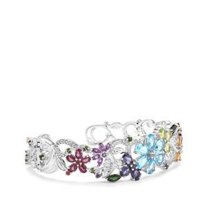 Kaleidoscope Gemstones Cuff in Sterling Silver 11.82cts