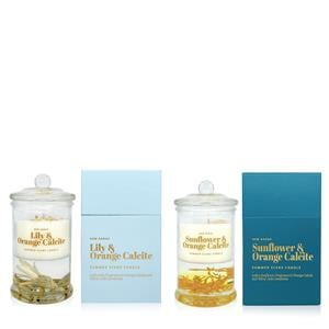 Summer Scene Candle with Orange Calcite & Yellow Jade  ATGW 30cts .01=Lily / .02=Sunflower Fragrance