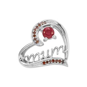 Malagasy Ruby Pendant with Red Diamond in Sterling Silver 0.46ct (F)