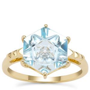 Lehrer Quasar Cut Sky Blue Topaz Ring in 9K Gold 4.30cts