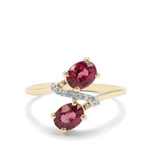 Malawi Garnet & Diamond 9K Gold Ring ATGW 1.93cts