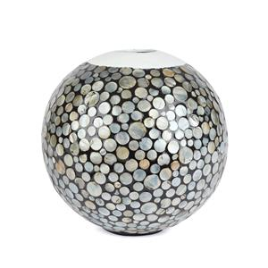 Mother of Pearl Collection - Round Decorative Vase with Grey Mother of pearl Inlay