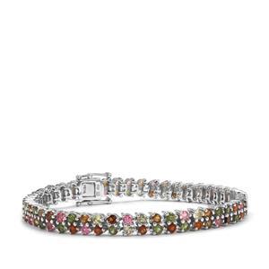 10.32ct Rainbow Tourmaline Sterling Silver Bracelet