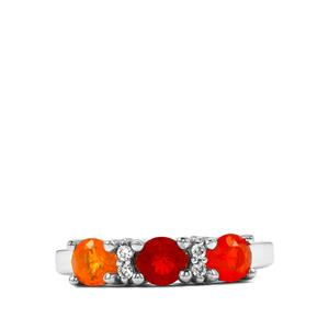 Mexican Fire Opal Ring with White Zircon in Sterling Silver 0.79cts