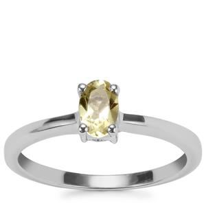 Citron Feldspar Ring with Diamond in Sterling Silver 0.41cts