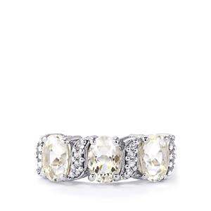 Itinga Petalite & White Topaz Sterling Silver Ring ATGW 2.12cts