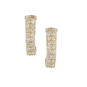 Natural Yellow Diamond Earrings in 9K Gold 1cts