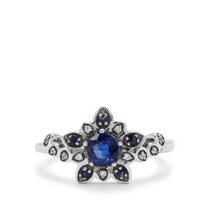 Nilamani, Thai Sapphire & White Zircon Sterling Silver Ring ATGW 0.84ct