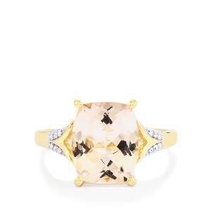 Alto Ligonha Morganite Ring with Diamond in 10K Gold 3.59cts