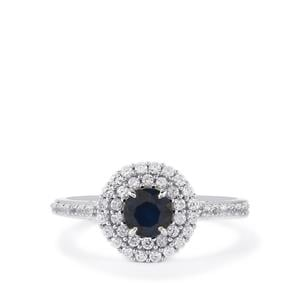Blue Sapphire Ring with White Zircon in Sterling Silver 1.27cts