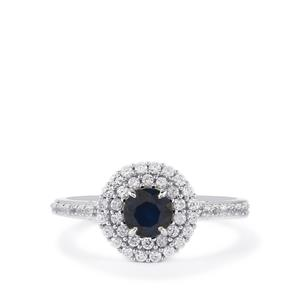Blue Sapphire & White Zircon Sterling Silver Ring ATGW 1.27cts