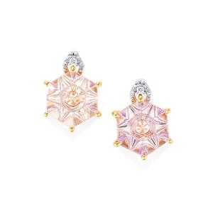 Lehrer QuasarCut Rose De France Amethyst Earrings with Diamond in 10K Rose Gold 3cts
