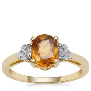 Morafeno Sphene Ring with Diamond in 9K Gold 1.58cts
