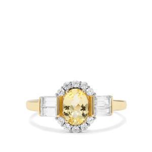 Merelani Danburite & White Zircon 9K Gold  Ring ATGW 1.60cts