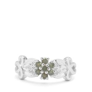 Orissa Alexandrite & White Zircon Sterling Silver Ring ATGW 0.48ct