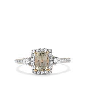 Csarite® & White Zircon 9K Gold Ring ATGW 1.42cts