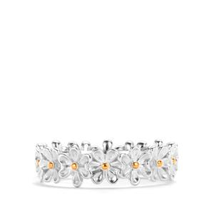 Daisy Two Tone Sterling Silver Ring 2.80g
