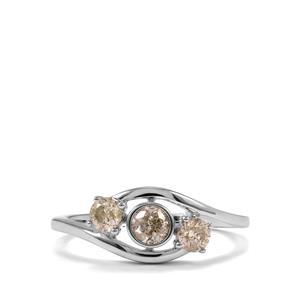 1/2ct Natural Coloured Diamond 9K White Gold Ring