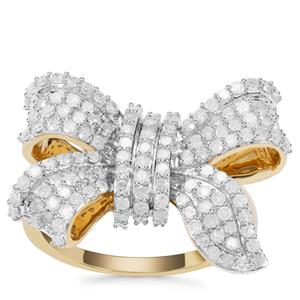 Diamond Bow Ring in 9K Gold 1ct